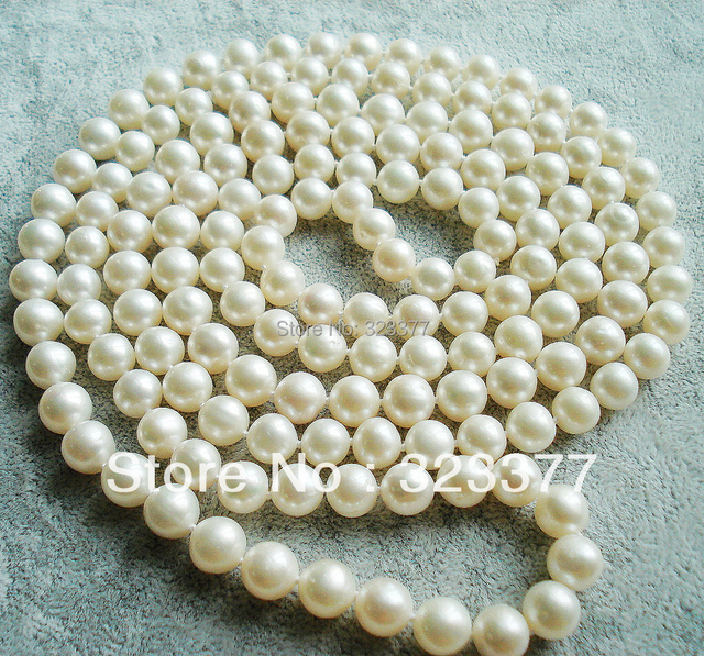 120-130CM Beautiful Shiny 8MM Round White Natural Freshwater Pearl Opera Sweater Necklace, Classic Wedding Jewelry!
