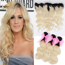 7A Grade Brazilian Virgin Hair With Closure 613 Blonde Brazilian Body Wave Lace Frontal Closure With