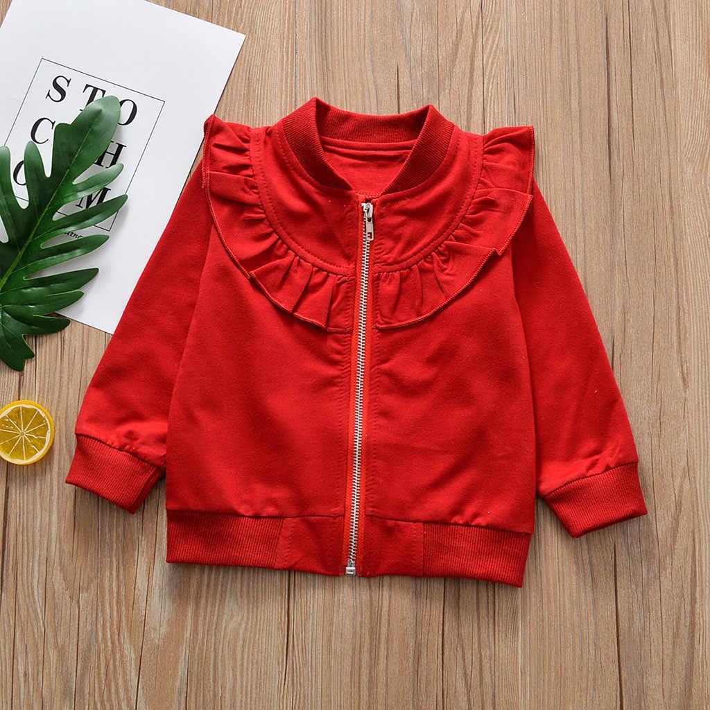 Детский хлопковый свитер с длинными рукавами на молнии для маленьких девочек; Верхняя одежда; модная детская зимняя куртка на молнии для девочек