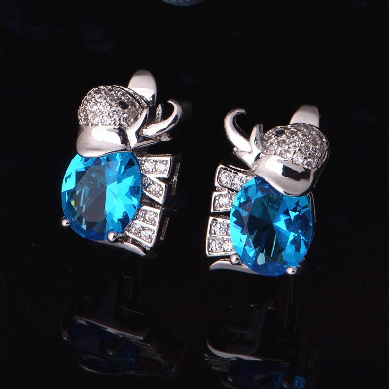 Elephant Love Earrings Blue