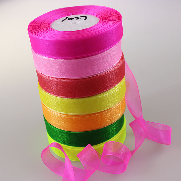 Cotton 20mm <font><b>50</b></font> Yard/Rolls 44M Transparent Silk Organza Polyester Ribbon For Wedding Party Decoration Webbing Gift Packing Belt image