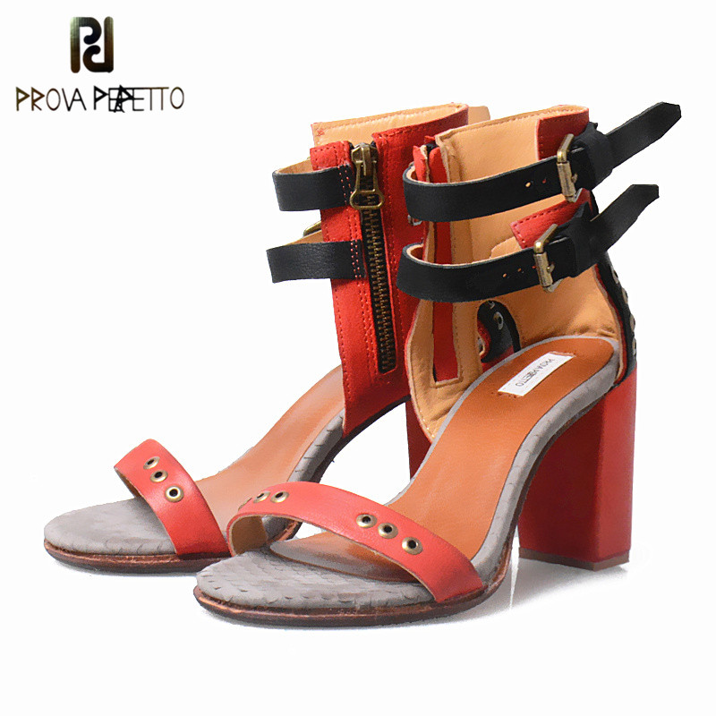 Prova Perfetto New Style Real Leather Word Buckle Sandals Woman Hollow Out Mixed Color Mujer Sandals Narrow Band High Heel Shoe prova perfetto full leather narrow band knitting women sandals hollow out peep toe chunky high heel rome style summer shoes