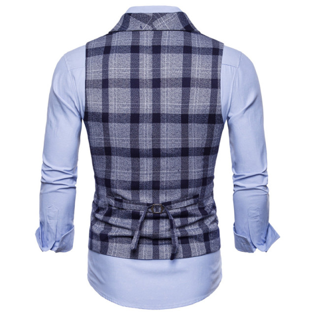 FFXZSJ 2018 Men Vest Red Plaid Vest Doouble Breasted V-neck Collar Casual Style Slim Fit Wedding Party Wear Plus Size Vest Men