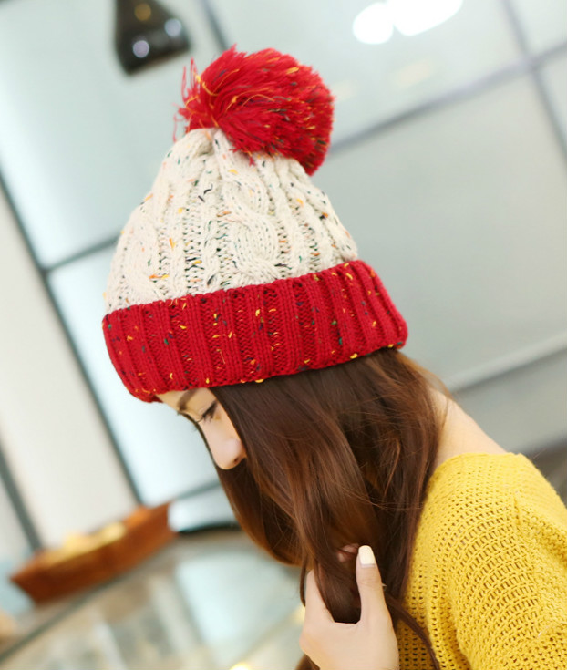BomHCS 100% Handmade Knitted Hat CONTRAST COLOR Stitching Women's Fashion Winter Warm Crochet Beanie Cap Gift bomhcs mosaic contrast color women s fashion winter soft warm crochet beanie handmade knitted hat cap