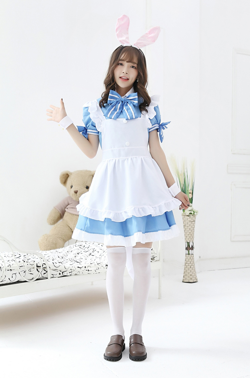 Is The Order A Rabbit Cappuccino Rabbit  Waitress Service Cosplay Costume Maid Unifrom Fancy Dress Halloween Women's Costumes
