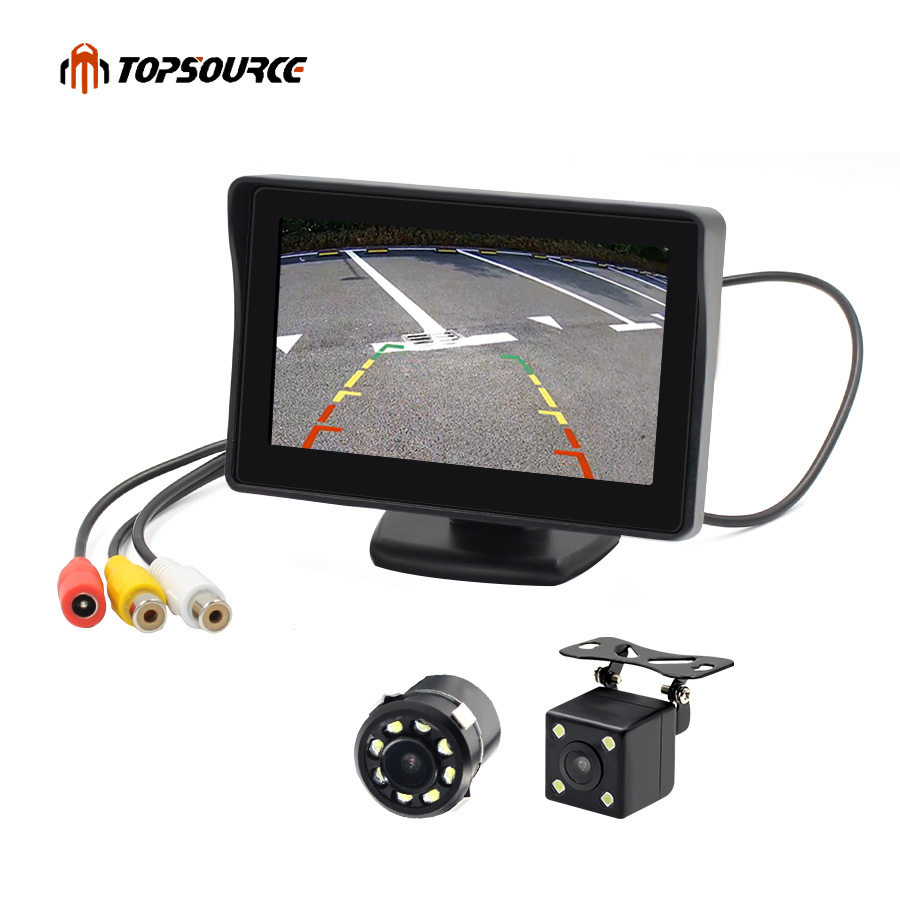 "TOPSOURCE 4.3"" Auto LCD 2 In 1 TFT Rear View Camera Parking Color Monitor + LED Night Vision CCD Backup Camera With Car Monitors(China)"