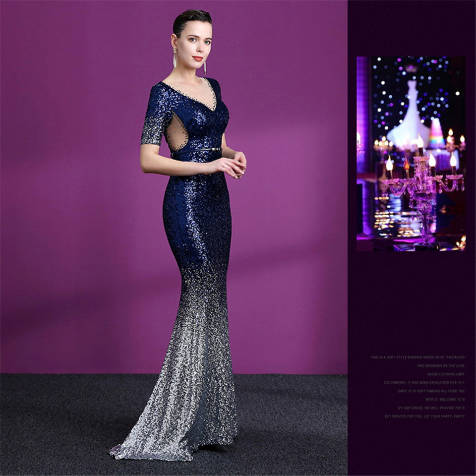 It's Yiiya Evening dress Royal Sequined Floor-length Trumpet Party Gowns Crystal V-neck Zipper back Mermaid Prom dresses C167
