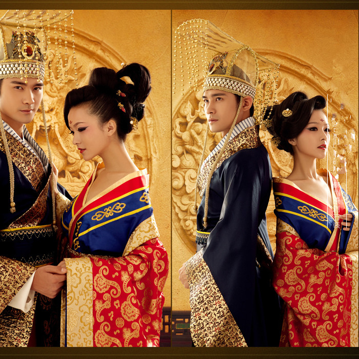 Lovers Costume Chinese Style Tang Dynasty Wedding Costume For TV Play  Empress Emperor  Traditional Hanfu Wedding  For Couple