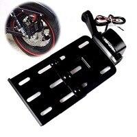 Black Telescopic Folding LED Light Side Mount License Plate For Harley 2004UP Sportster XL 883 1200 48 Models