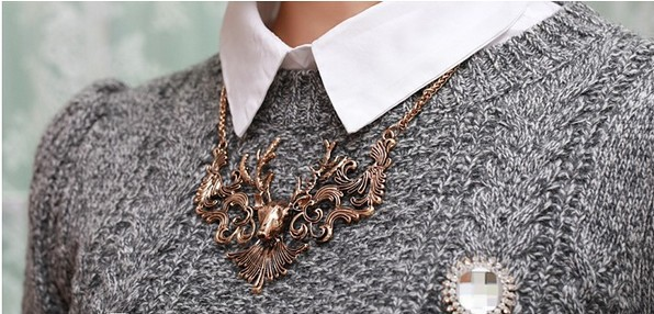 SKU2061 European and American fashion element restoring ancient ways big moose deer head fake collar sweater chain necklace