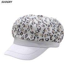 2019 Womens Vintage Wide Brim Leopard Print Berets Hats Women Classic French Style Wool Beret Beanies Hat Female Newsboy Caps