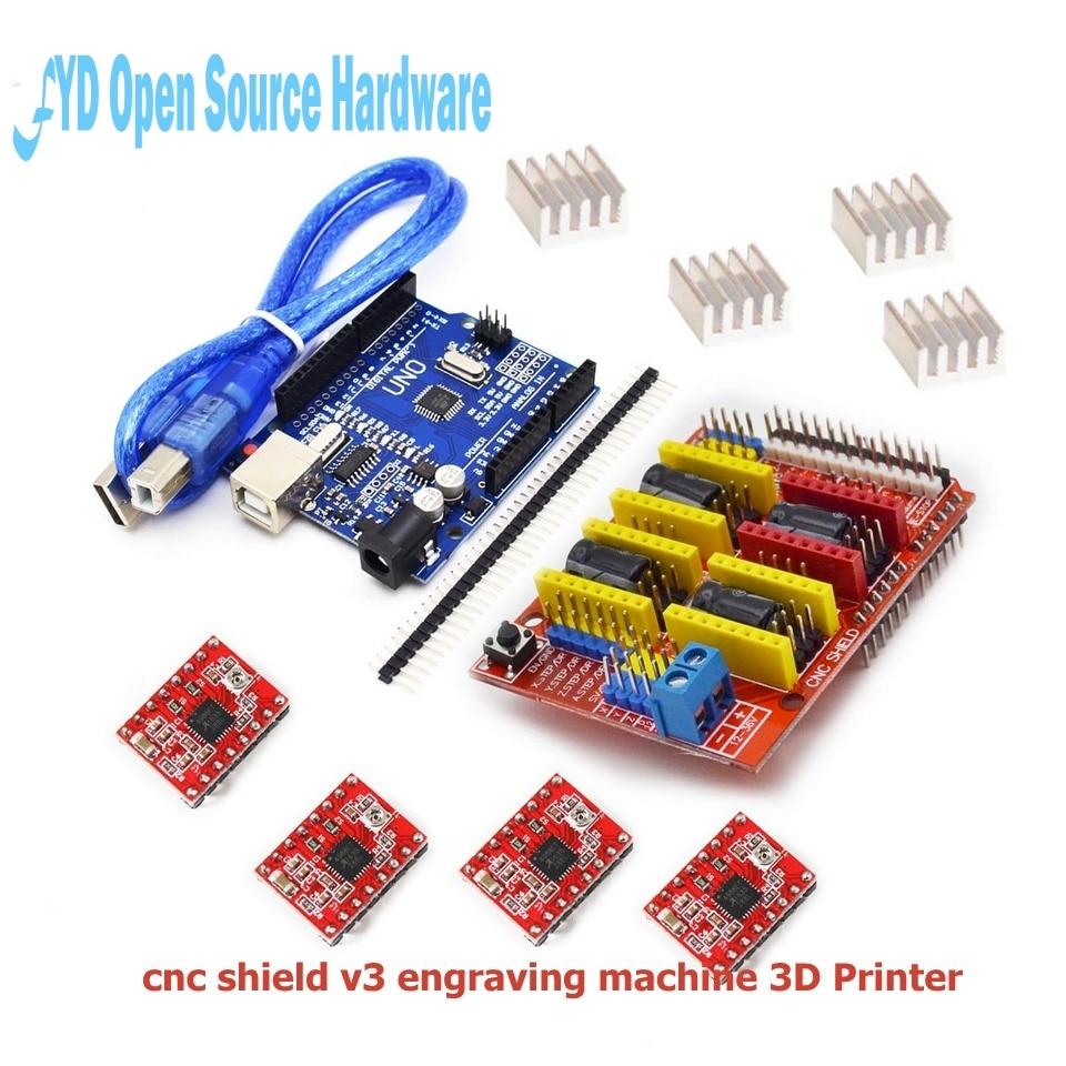 Cnc щит v3 гравировальный станок 3D принтер + 4 шт. A4988 Плата расширения драйвера для arduino + UNO R3 с USB кабелем