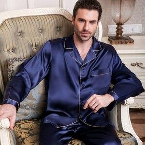 Image 2 - Пижама из натурального шелка, мужские весенне летние брюки с длинным рукавом, пижамные комплекты из двух предметов, шелковая мужская одежда для сна из 100% шелка, T9002