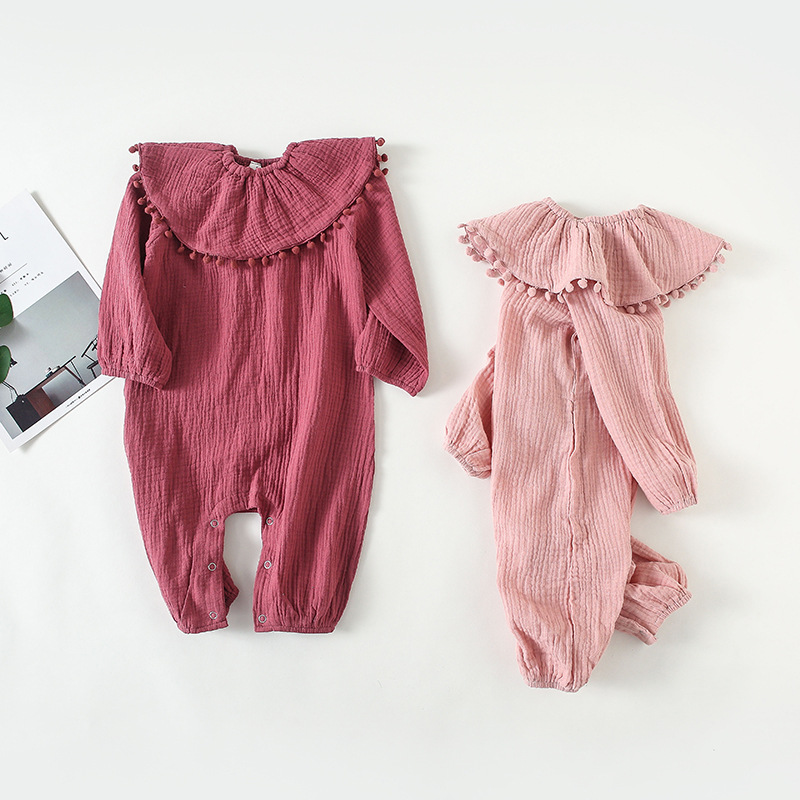 Baby Girls Rompers Linen Cotton Toddler Girl Jumpsuits Long Sleeve Newborn Infant Princess Onesie Outfits with Pomom Bib Costume