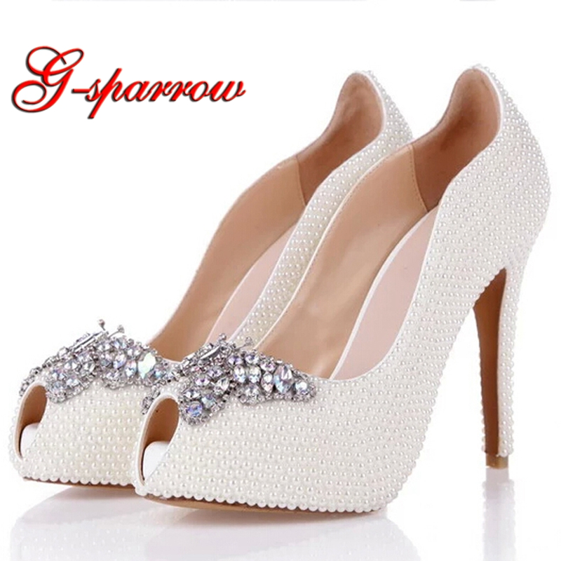2018 Spring Summer Women Pumps White Pearl Wedding Party Shoes Peep Toe Butterfly Rhinestone Fish Mouth