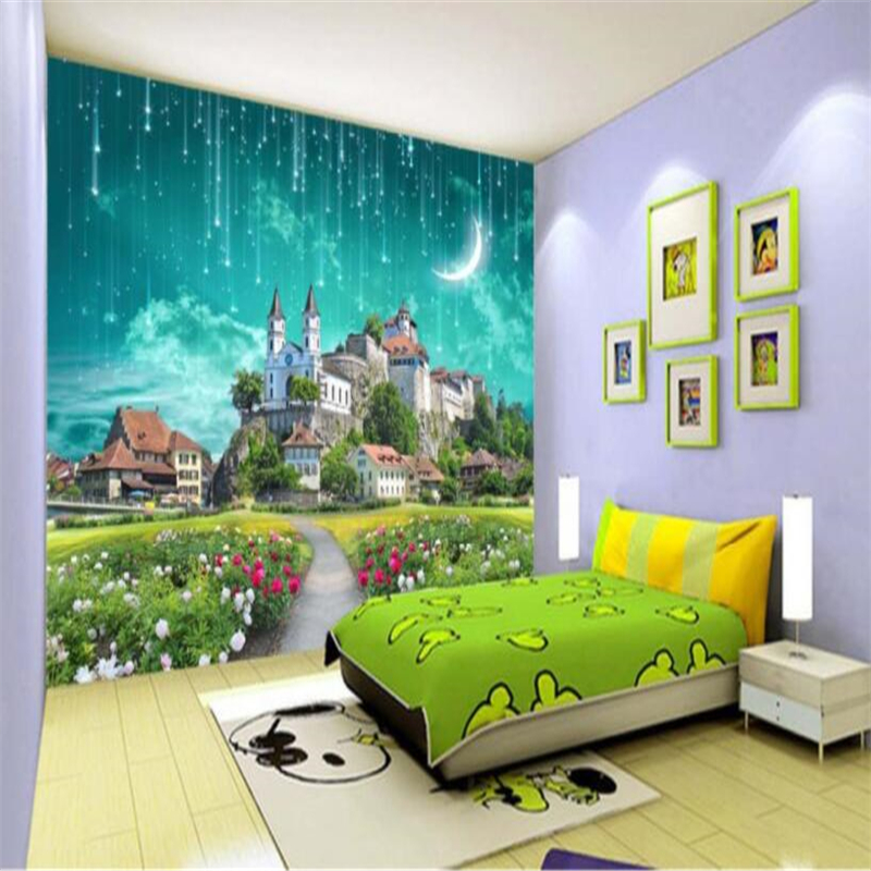 beibehang Custom wallpaper fantastic castle meteor shower 3D TV backdrop decorative painting