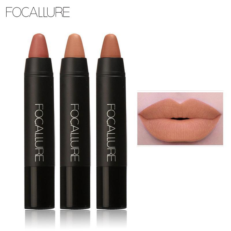 FOCALLURE Lipstick Sexy Long-lasting Red Nude Tattoo Matte Lipsticks True Color Pencil Lipstick Makeup 3pcs/Set Lipstick M02976