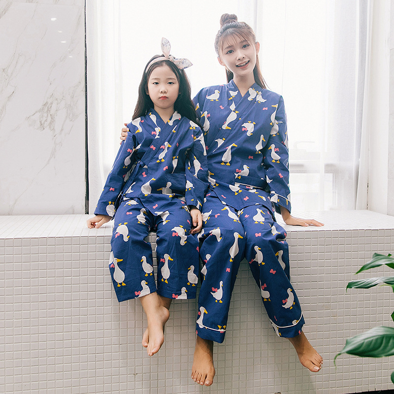 Maggies Walker Family matching clothes Japanese style cartoon pajamas for mother daughter Spring and autumn cotton nightgowns ...