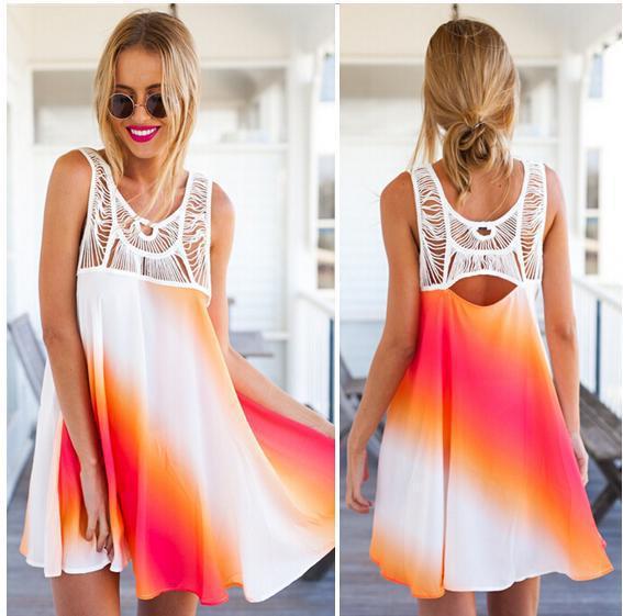 Hot Sale 2015 Summer Fashion Dress Fashion Sleeveless Women Dresess Mini Top Quality Casual Party Beach WD118