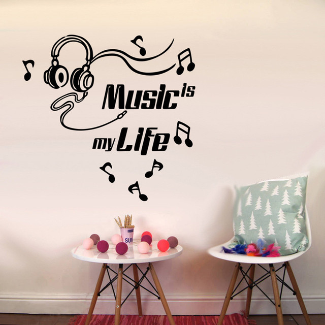 2018 Text Sticker Wallpaper Music Is My Life Glasses Removable Art Vinyl Mural Home Room Decor