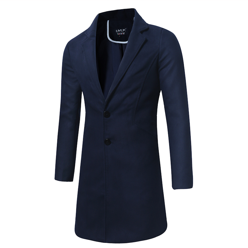 Autumn and Winter Pure Color 5XL Size Mens Long Jackets Business Men   Trench   Casual Coats Male