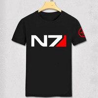 Juego de RPG Mass Effect 3 N7 camiseta del paño de los hombres Cosplay traje de algodón camiseta nuevos sistemas alianza Militar emblema juego camiseta