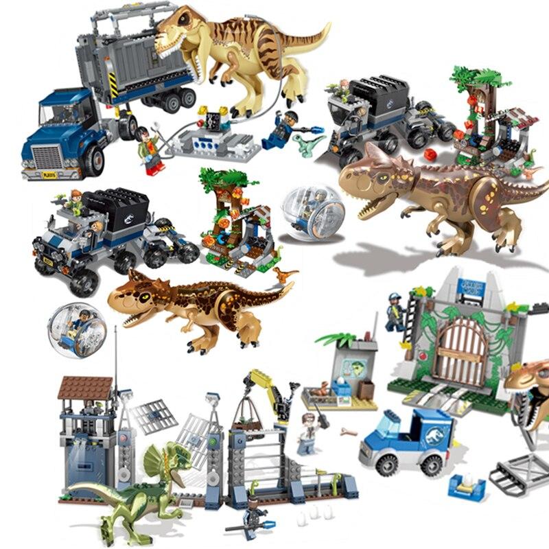 2018 Compatibile legoings Jurassic World Set 4 parco 3 Dinosauri Giocattoli T-Rex Blocchi di Mattoni da Costruzione Bambino ragazzo bambini owen pteranodon