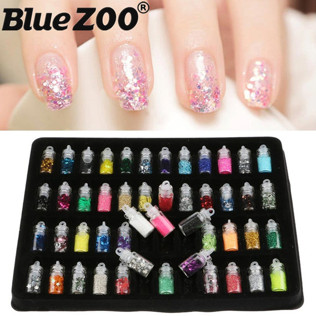 48 Flessenset 3d Nail Art Charmes Kit Caviar Kralen Beauty Diy Nail