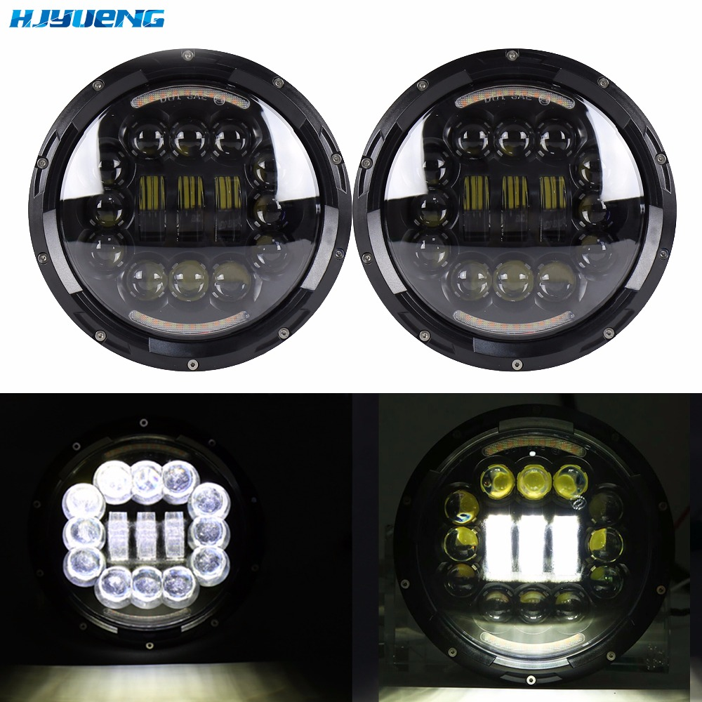 75w 7Inch Round Projection Daymaker Led Headlight DRL fit for Jeep Wrangler JK TJ LJ CJ Sahara Hummer Land Rover Defender whdz 1pc round 7inch 75w round led headlight hi low beam head light with bulb drl for jeep wrangler tj lj jk cj 7 cj 8 scrambler