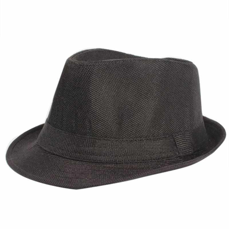 171f7472ef9a4c Unisex Men Women Summer Fedora Trilby Hat Gangster Panama Short Brim Cap  Sunhat