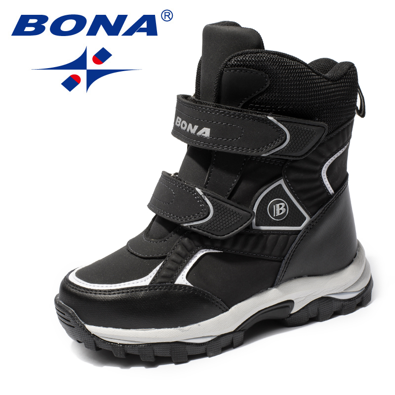BONA New Classics Style Children Boots Hook & Loop Boys Snow Boots Leather Boys Ankle Boots Outdoor Fashion Sneakers
