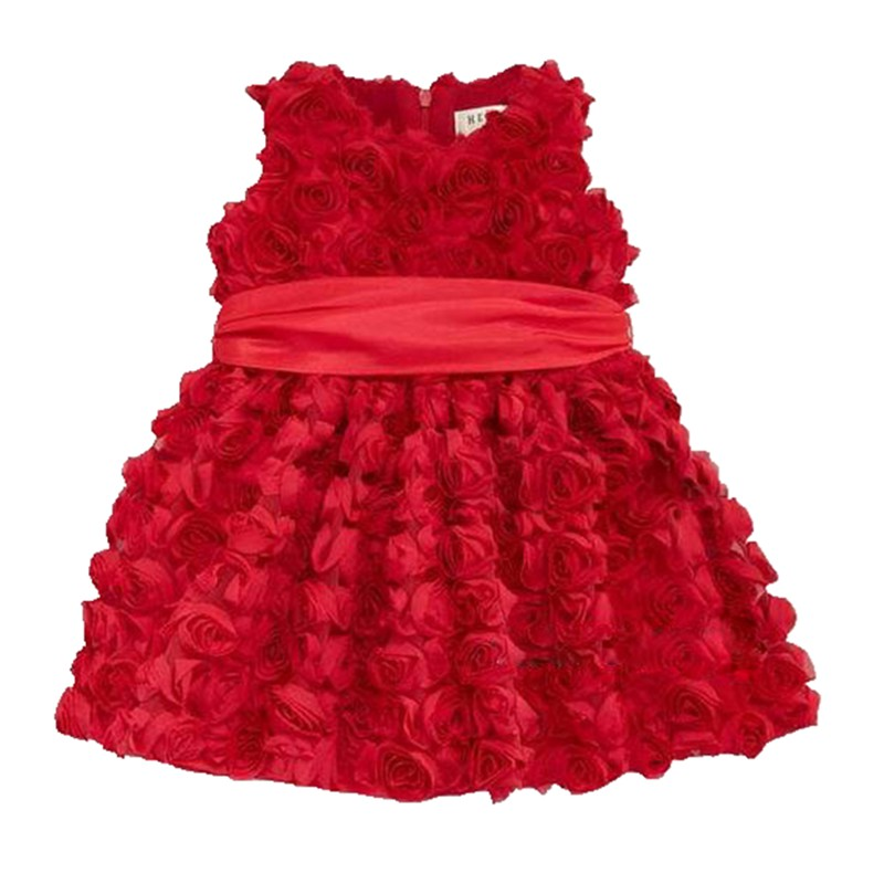 Red 3D Flower Girl Dresses For Party And Wedding Girls Summer Dress Kids Clothes Toddler Birthday Outfits Children Clothing flower princess toddler girls dresses summer party girl dress kids dresses for girls clothes wedding