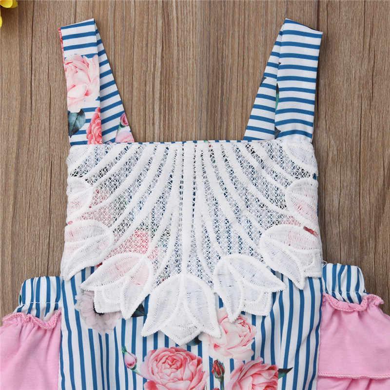 Одежда для новорожденных; для маленьких девочек Цветочный принт комбинезон без рукавов с открытой спиной летнее хлопковый комплект для девочек одежда в загородном стиле