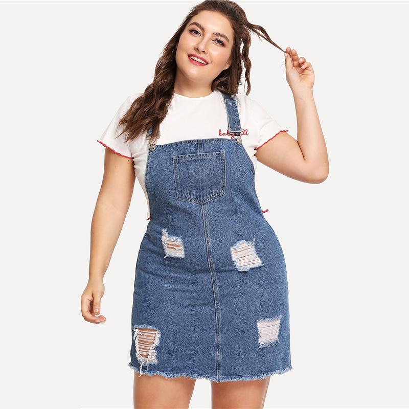 iStylishmall - Denim Overall Dress 2018 Summer Straps Sleeveless Ripped Clothing Women  Casual Denim Dress ( Plus Size Available)