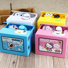 Lovely Automated Cat Steal 1PCS Piggy Bank Moneybox Animal shape Coin Saving Cartoon Panda Bank box Child kid birthday gift
