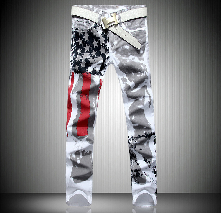 The 2015 man American flag stamp jeans high elastic slim casual Pentagram red stripe size trousers the last american man