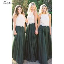 0348c1d12bb5 2018 Modest Forest Green Tulle Bridesmaid Dresses Two Piece Ivory Lace Top  A Line Maid Of Honor Wedding Guest Gown Formal Dress