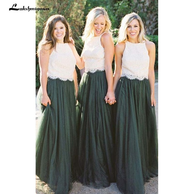 2018 Modest Forest Green Tulle Bridesmaid Dresses Two Piece Ivory Lace Top A Line Maid Of Honor Wedding Guest Gown Formal Dress