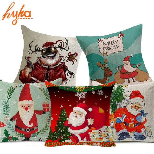 03ff61d2460137 R$ 14.02 32% de desconto|Hyha Alta Qulity Capa de Almofada Presentes de  Papai Noel Do Natal Xams Presentes Início Decorativa Almofadas Capa para ...