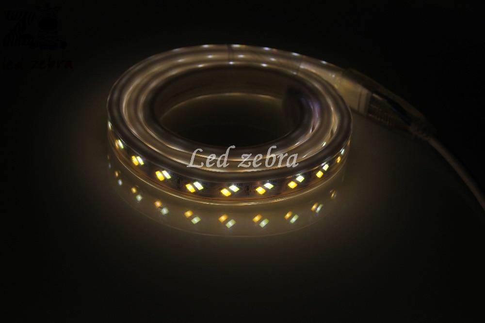 Super lumineux ca 220 v 5730/5630 smd 120led/m a mené la lumière de bande, 50 m/100 m blanc/chaud blanc oblique pâte puce a mené la bande avec la prise de l'ue - 3
