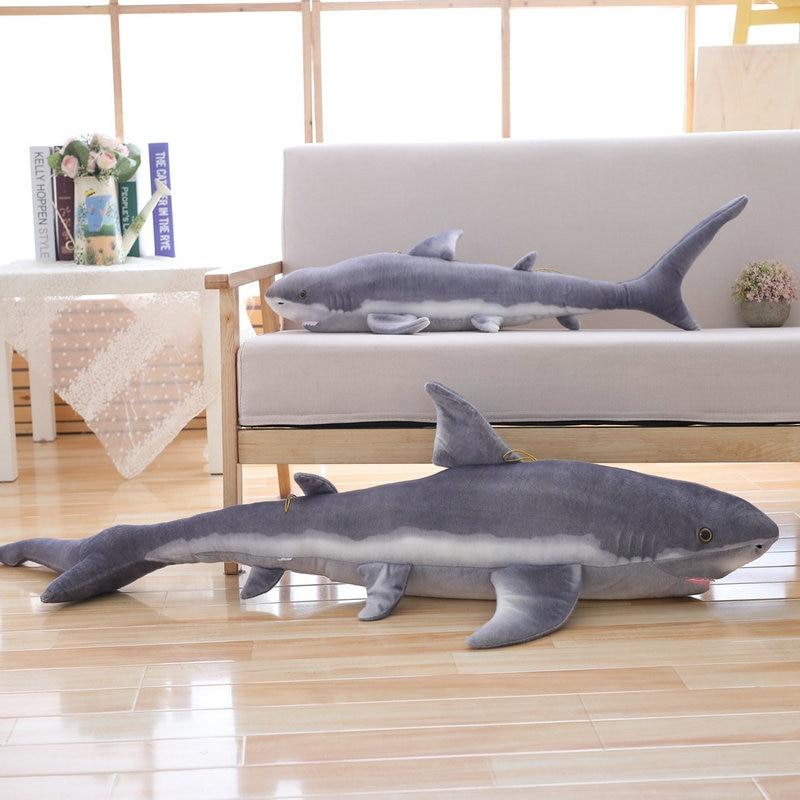 1.4M Simulated Shark Stuffed Sea Animal Fish Toys For Seafood Store Mascot Plush Soft Doll Toys Birthday Tuna Dolls Lifelike