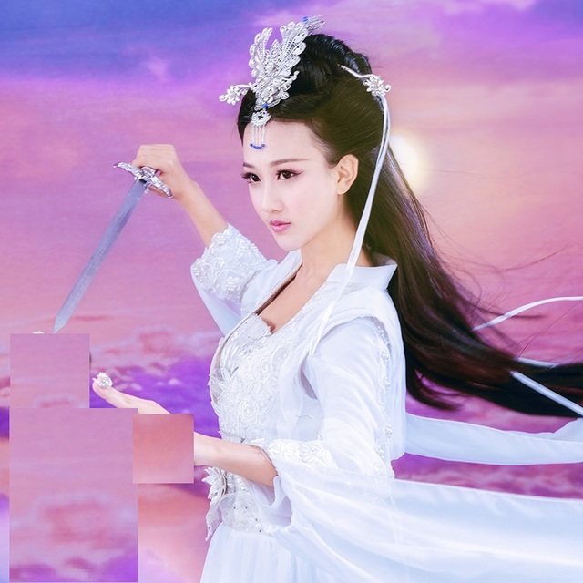 1cfd8db2e00b0 US $80.0 |ZeTianJi Same Design White Fairy Swordlady Costume Hanfu Drama  Costume for TV Play Fighter of the Destiny Female Costume Hanfu -in Chinese  ...