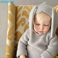 Autumn Crocheted Knitting 3D Rabbit Pattern Baby Girls Cardigan Children Toddler Boys Cotton Sweater Kids Warm