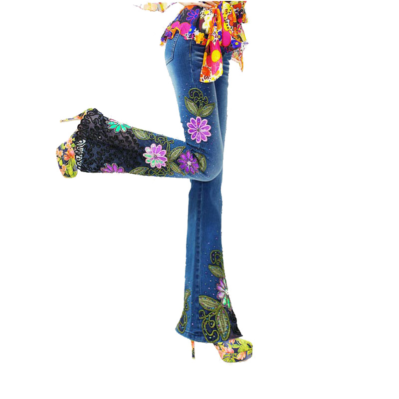 Europeo Pantalones Slim Mujeres Denim cuerno Señora Jeans Flare Elástico Primavera Micro Cuentas De Bordado 2019 Flor Encaje con vrnwtqvS