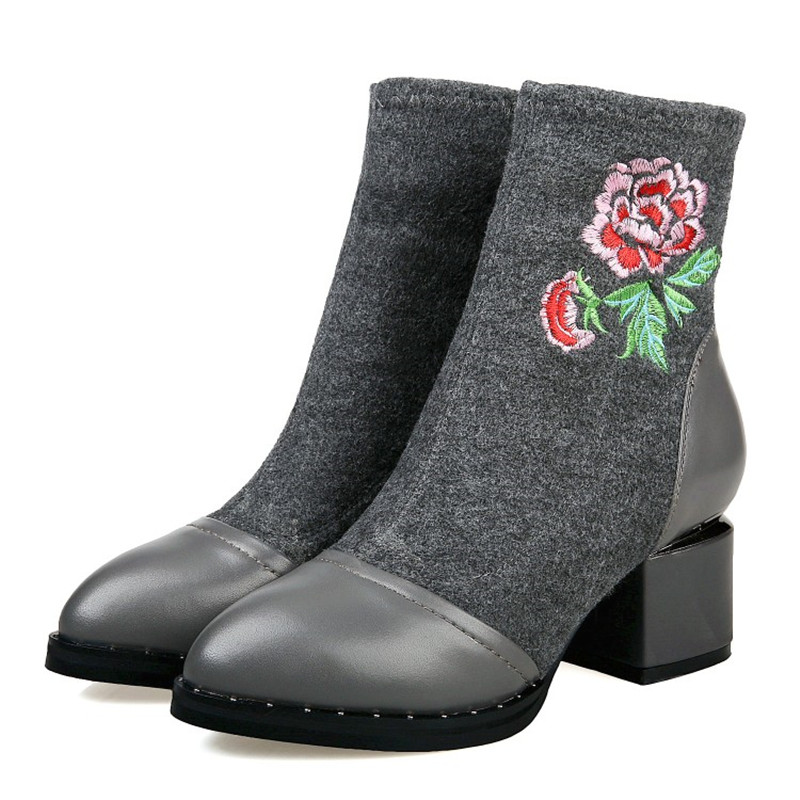 grey allumette Angleterre Haute Hiver Courtes Stylesowner Noir Black Fleur Matures Tout Chaud Épais Style Bottes Garder Au Cheville Talons gHfdxqxUwn
