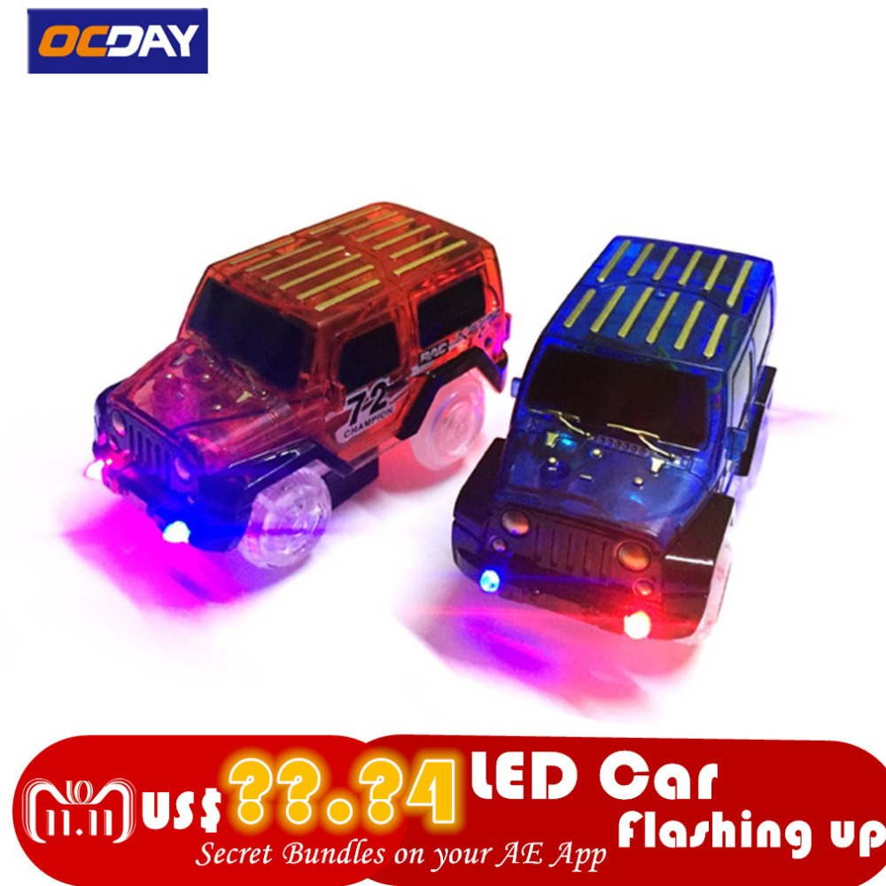 OCDAY LED Light Up Cars For Glow Race Track Electronic Car Toy Flashing Kid Railway Luminous Machine Track Car Brinquedos