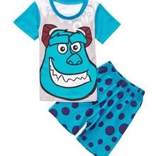 В розницу! Новое поступление, 1 предмет, розничная, летние хлопковые пижамы с короткими рукавами и рисунком для девочек, детские пижамы, одежда для малышей 2-7 лет