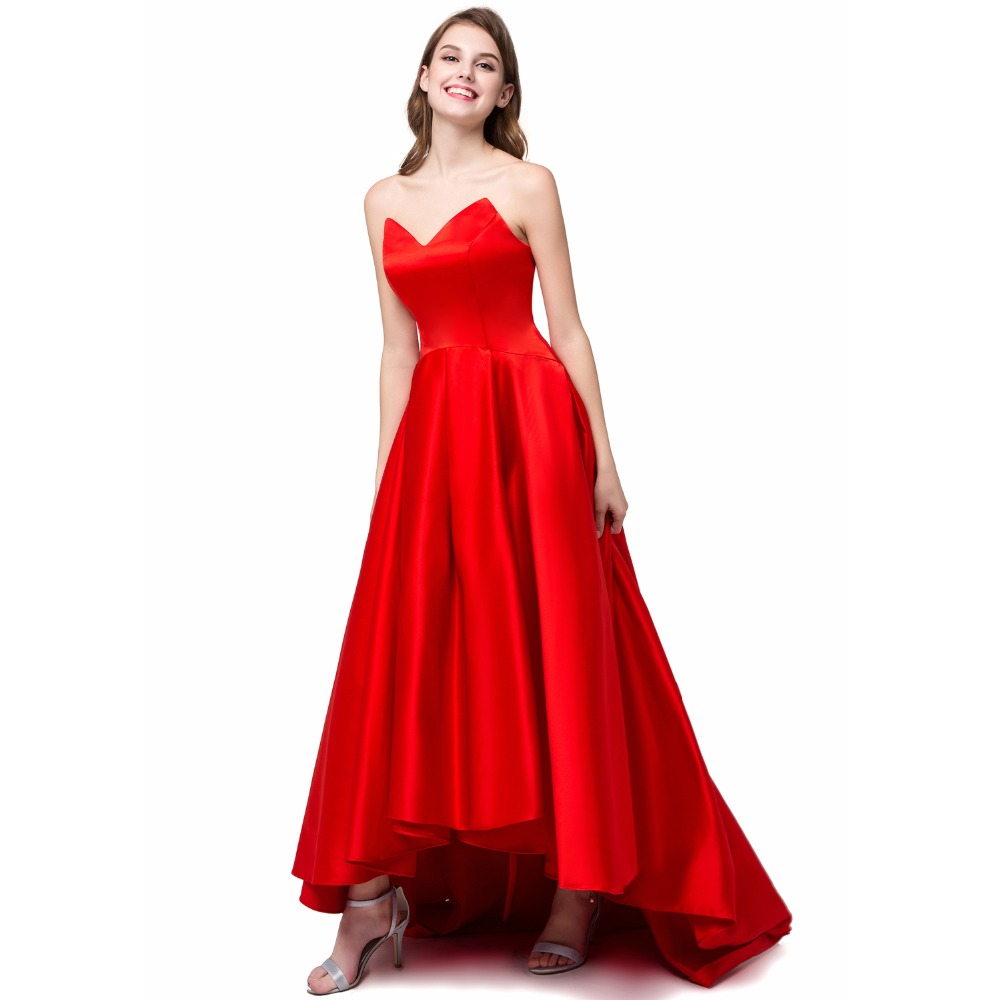 Aliexpress buy angelsbridep high low red bridesmaid dresses aliexpress buy angelsbridep high low red bridesmaid dresses satin v neck party gowns simple cheap formal dresses stock size 6 8 10 12 14 16 from ombrellifo Gallery