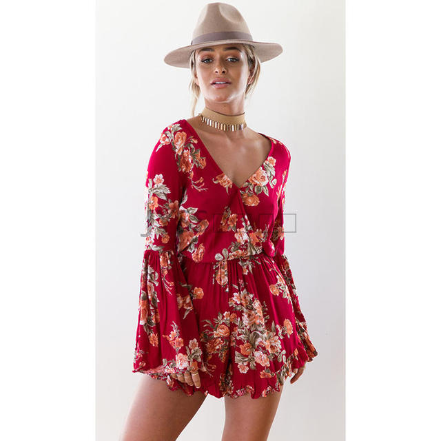 9c3b9708774c Women Floral Flare Romper Butterfly Sleeve V-neck Lady Loose Holiday Beach  Summer Playsuits Jumpsuit