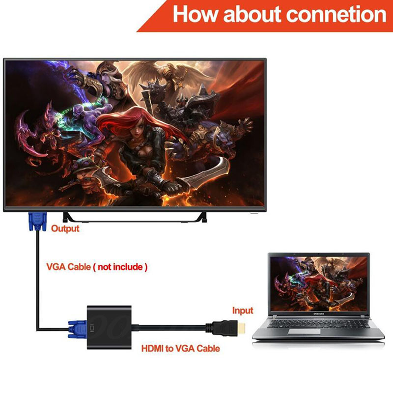COOLJIER HDMI to VGA Cable Converter Digital Analog HD 1080P For PC Laptop Tablet HDMI Male COOLJIER HDMI to VGA Cable Converter Digital Analog HD 1080P For PC Laptop Tablet HDMI Male To VGA Famale Converter Adapter